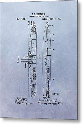 Vintage Submarine Boat Patent Metal Print by Dan Sproul
