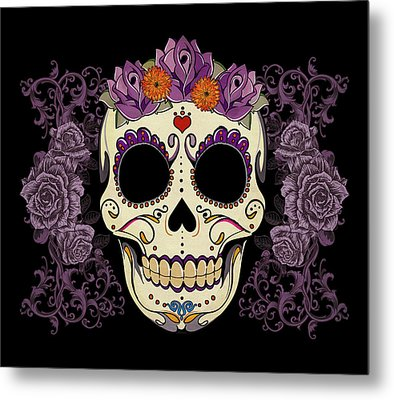 Vintage Sugar Skull And Roses Metal Print by Tammy Wetzel
