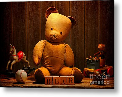 Vintage Teddy Bear And Toys Metal Print by Olivier Le Queinec