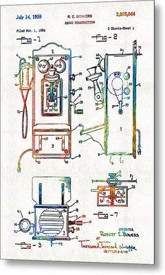 Vintage Telephone Radio Art - Radio Construction - By Sharon Cummings Metal Print by Sharon Cummings
