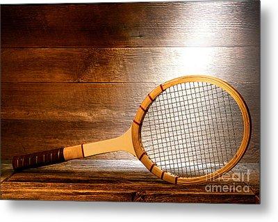 Vintage Tennis Racket Metal Print by Olivier Le Queinec
