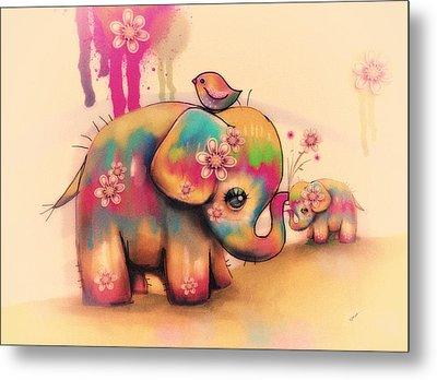 Vintage Tie Dye Elephants Metal Print by Karin Taylor