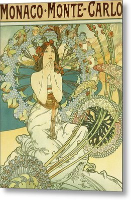 Vintage Travel Poster For Monaco Monte Carlo Metal Print by Alphonse Marie Mucha
