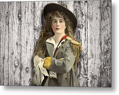 Vintage Woman In Uniform Metal Print by Peggy Collins