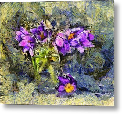 Violet Flowers In Glass Jar Metal Print by Yury Malkov