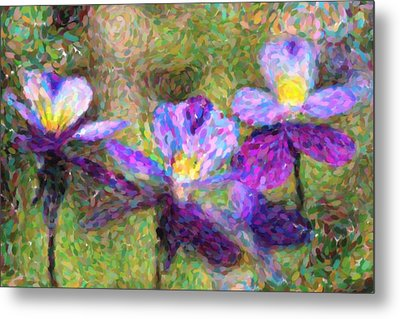 Violet Flowers Metal Print by Toppart Sweden