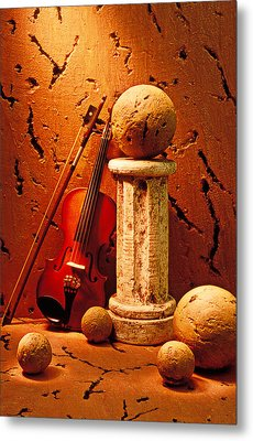 Violin And Pedestal With Stone Balls  Metal Print by Garry Gay