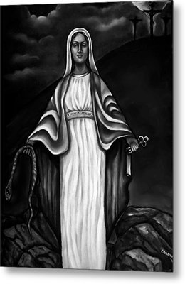 Virgen Mary In Black And White Metal Print by Carmen Cordova