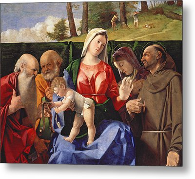Virgin And Child With Saints Jerome, Peter, Clare And Francis Metal Print by Lorenzo Lotto