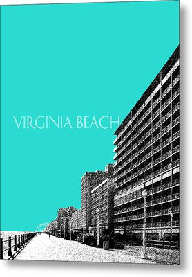 Virginia Beach Skyline Boardwalk  - Aqua Metal Print by DB Artist