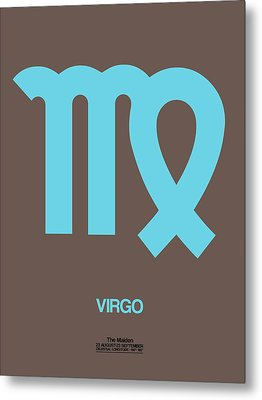 Virgo Zodiac Sign Blue Metal Print by Naxart Studio