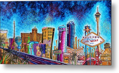 Viva Las Vegas A Fun And Funky Pop Art Painting Of The Vegas Skyline And Sign By Megan Duncanson Metal Print by Megan Duncanson
