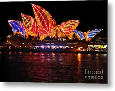 Vivid Sydney By Kaye Menner - Opera House ... Leaves Metal Print by Kaye Menner