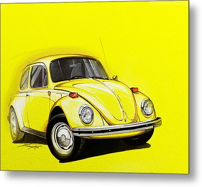 Volkswagen Beetle Vw Yellow Metal Print by Etienne Carignan