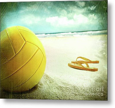Volleyball In The Sand With Sandals Metal Print by Sandra Cunningham