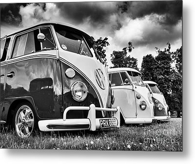 Vw Splitties Monochrome Metal Print by Tim Gainey