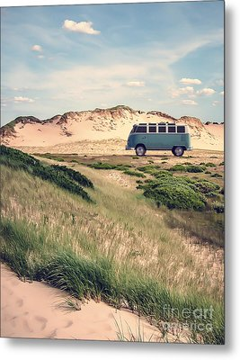 Vw Surfer Bus Out In The Sand Dunes Metal Print by Edward Fielding