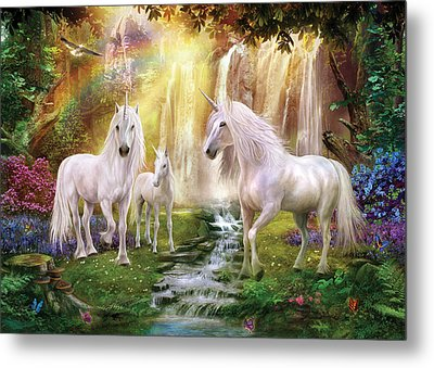 Waaterfall Glade Unicorns Metal Print by Jan Patrik Krasny