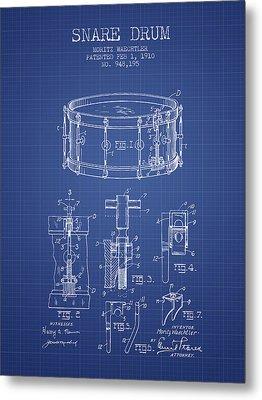 Waechtler Snare Drum Patent From 1910 - Blueprint Metal Print by Aged Pixel