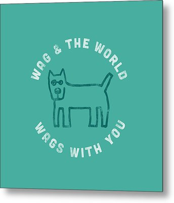 Wag World Circle Metal Print by Life is Good