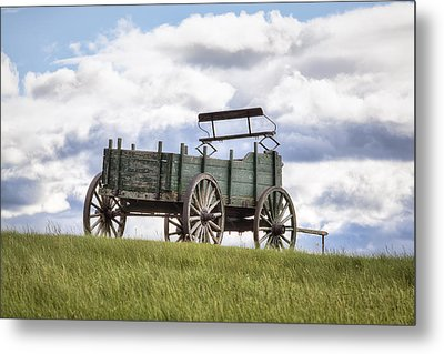 Wagon On A Hill Metal Print by Eric Gendron