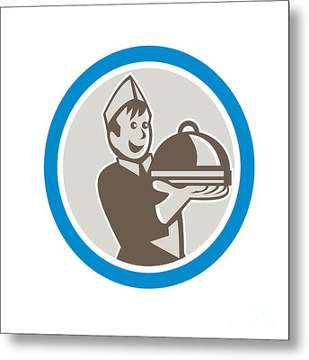 Waiter Serving Food On Platter Retro Metal Print by Aloysius Patrimonio