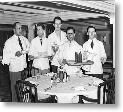 Waiters On Ss President Monroe. Metal Print by Underwood Archives