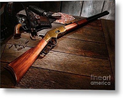 Waiting For The Gunfight Metal Print by Olivier Le Queinec