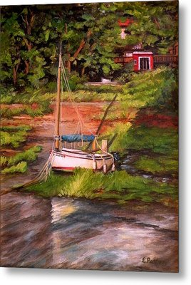 Waiting For The Tide Metal Print by Eileen Patten Oliver