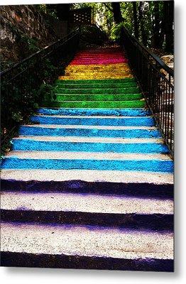 Walkin' On Rainbow Metal Print by Lucy D