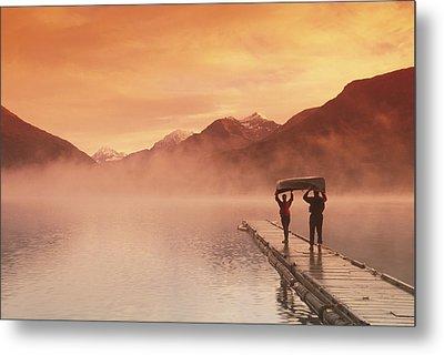 Walking On Dock Robe Lake  Sunrise Sc Metal Print by Michael DeYoung