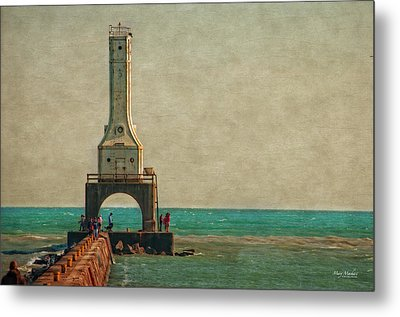 Walking On The Breakwater Metal Print by Mary Machare