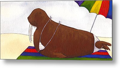 Walrus At The Beach Metal Print by Christy Beckwith