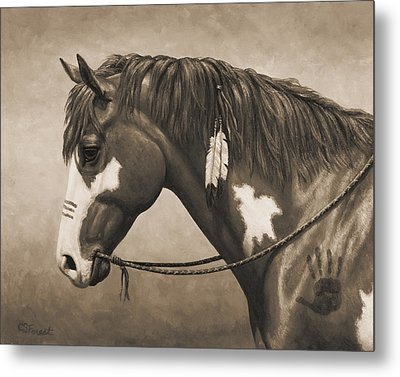 War Horse Aged Photo Fx Metal Print by Crista Forest