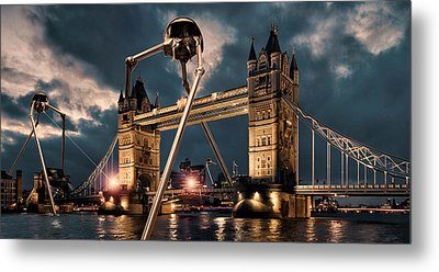 War Of The Worlds London Metal Print by Peter Chilelli