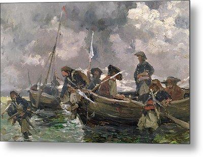 War Scene At Sea Metal Print by Paul Emile Boutigny