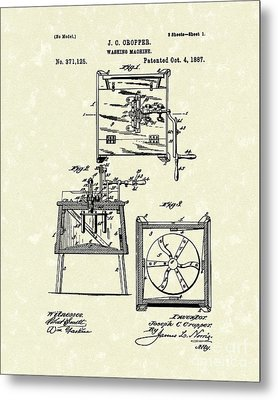 Washing Machine 1887 Patent Art Metal Print by Prior Art Design
