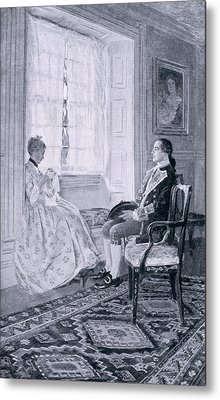 Washington And Mary Philipse, Illustration From Colonel Washington By Woodrow Wilson, Pub Metal Print by Howard Pyle
