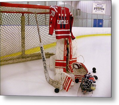 Washington Capitals Braden Holtby Winter Classic 2015 Jersey Metal Print by Lisa Wooten