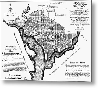 Washington, D.c. Plan, 1792 Metal Print by Granger
