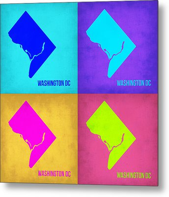 Washington Dc Pop Art Map 1 Metal Print by Naxart Studio
