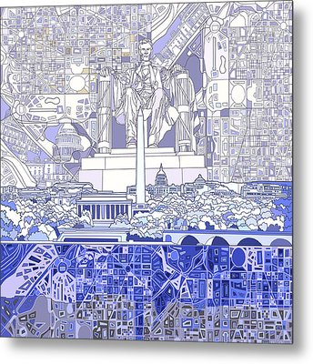 Washington Dc Skyline Abstract 3 Metal Print by Bekim Art