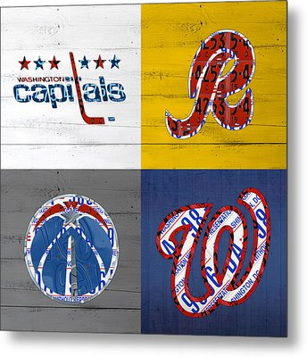 Washington Dc Sports Fan Recycled Vintage License Plate Art Capitals Redskins Wizards Nationals Metal Print by Design Turnpike