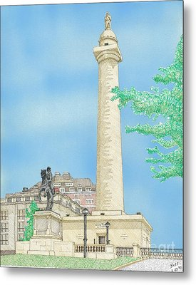 Washington Monument In Baltimore Metal Print by Calvert Koerber