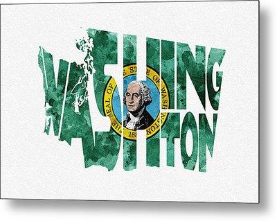 Washington Typographic Map Flag Metal Print by Ayse Deniz