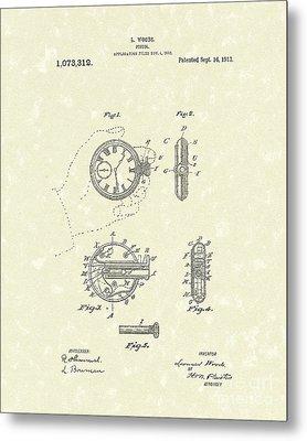 Watch Pistol 1913 Patent Art Metal Print by Prior Art Design