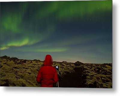 Watching The Northern Lights Metal Print by Andres Leon