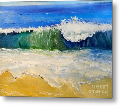 Watching The Wave As Come On The Beach Metal Print by Pamela  Meredith