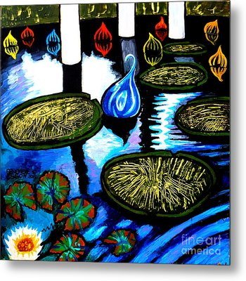 Water Lilies And Chihuly Glass Baubles At Missouri Botanical Garden Metal Print by Genevieve Esson