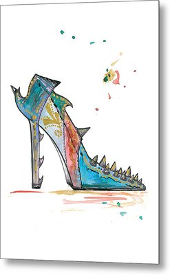 Watercolor Fashion Illustration Art Metal Print by Marian Voicu